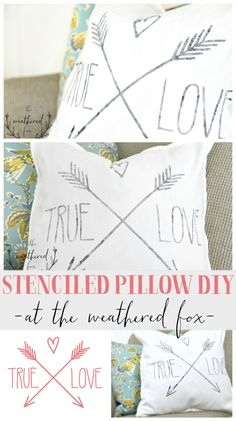 This is such a quick 20 minute project that makes a huge home decor statement! I'm getting a Cricut after seeing this! Stenciled Pillows, Diy Pillows, Custom Pillows, Throw Pillows, Cushions, Pillow Ideas, Diy Craft Projects, Decor Crafts, Sewing Projects