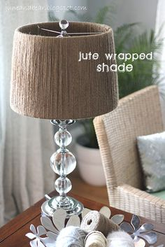 Jute Wrapped Lamp Shade - hmm, another idea for my bedroom lamps