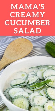 Quick and easy Creamy Cucumber Salad, just like Mama makes with mayo, vinegar, sugar, and dill. Creamed Cucumbers, Creamy Cucumber Salad, Good Food, Yummy Food, Summer Side Dishes, American Recipes, Fruit Salad Recipes, Clean Eating Recipes, Esl