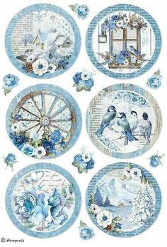 Rice Paper for Decoupage, Scrapbook Sheet, Craft Paper Birds and Blue Butterfly Decoupage Vintage, Vintage Paper Crafts, Printable Stickers, Printable Paper, Free Printable, Image Printable, Printable Vintage, Etiquette Vintage, Decoupage Printables