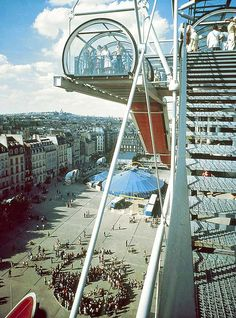 View from the Centre Pompidou by Richard Einzig, 1977. Centre Pompidou by Richard Rogers and Renzo Piano / Paris, France, 1972 to 1976.