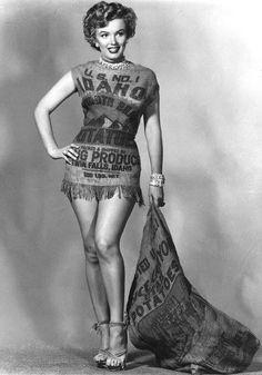 Famous pin up Marilyn Monroe wearing an Idaho potato sack.
