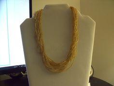 Vintage Seeded Necklace Goldtoned & Pearl & Amber Earrings -  Signed | eBay