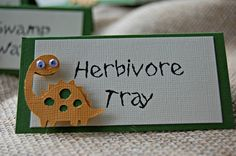 Dinosaur Birthday Party Food Buffet Name Tags by WeBringTheParty, $6.00