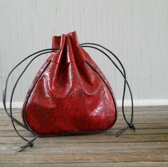 Drawstring Purse Pouch Tooled Red Vinyl by @LisasRetroStyle #vmteam