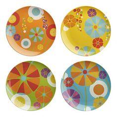 Crate and Barrel Pop Modern Retro Melamine Flower Plates for stylish kids