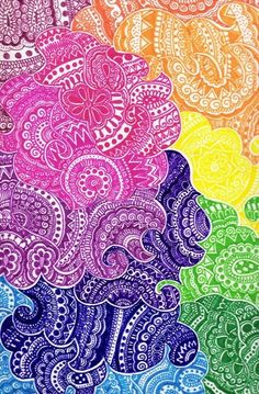 Zentangle- some things are better in color Mandala Art, Mandalas Painting, Mandalas Drawing, Mandala Design, Doodles Zentangles, Zentangle Patterns, Henna Patterns, Diy Collage, Desenho Tattoo