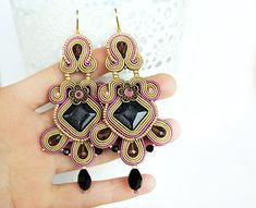Purple chandelier earrings, light brown soutache earrings, long purple bohemian earrings, boho earrings, blue sand stone jewelry *** Long light brown soutache earrings with beautiful blue sand stones and some glass crystals. Choose the hooks you like. Length without hook (approx.): 8,7 cm.