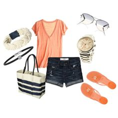 Cantaloupe & Navy Nautical, created by #pbmhuck on #polyvore. #fashion #style CALYPSO ST. BARTH Abercrombie & Fitch