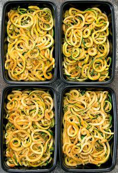 overhead photo of sesame zucchini noodles