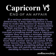 Capricorn and the end of an affair.