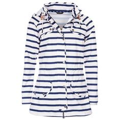 Women's Barbour Stripe Trevose Waterproof Jacket - Navy / White (14.160 RUB) ❤ liked on Polyvore featuring activewear, activewear jackets and barbour