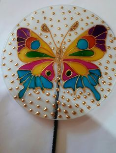 Glass Painting Designs, Paint Designs, Cd Crafts, Cd Art, Rangoli Designs, Bottle Art, Stained Glass, Macrame, Inspiration