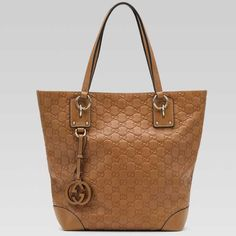 $207 Gucci Charm Medium Tote Light Camel 247237 BXS