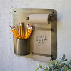 Pictured here is the Antique Brass Hanging Note Roll with Pencil Cup at Timeless Wrought Iron. Pot A Crayon, Diy Casa, Pencil Cup, Ideias Diy, Wall Racks, Pencil Holder, Office Accessories, Note Paper, Home Organization
