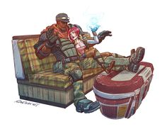 I love Borderlands. Cat and I have played all three games and most of the DLC split-screen, and it's a total delight. Here's a moment with Lilith and Roland! Treasure the good things in your life. Krieg Borderlands, Character Concept, Character Design, Tales From The Borderlands, Storyboard Artist, Plant Drawing, Fantasy Setting, A Beast, Games