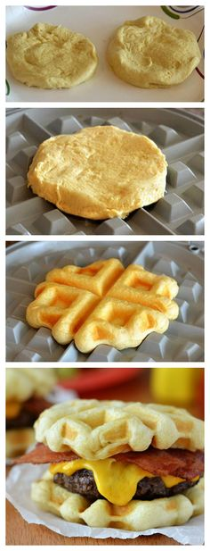 Bacon cheeseburgers with golden waffles as buns from your waffle iron and Grands! Might be good as breakfast sandwich too. Breakfast Sandwich Maker, Breakfast Recipes, Waffle Sandwich, Breakfast Ideas, Waffle Maker Recipes, Foods With Iron, Pancakes And Waffles, Snacks, Tostadas
