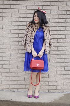 Petite fashion winter street style leopard short coat+ Ever Pretty blue dress+ LV red bag+ Jessica Simpson plaid pumps