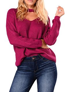 Doubleal Women's Solid V-Neck Sweater Casual Long Sleeve Loose Knit Pullover Sweater With Choker
