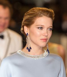 Léa Seydoux in a pair of white gold, diamond and sapphire earrings by Chopard. Cannes 2015