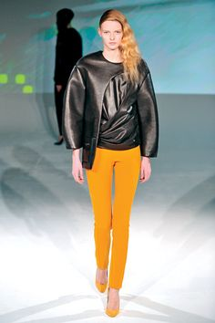 Hussein Chalayan Fall 2012, Trend Report - Cigarette Pants. From high-watt to strict and sombre, slim-fit stovepipe styles continue to burn bright.