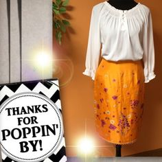 """💐FLORAL SILK SKIRT WITH BEAD TRIM💐HAROLD'S💐 This beauty has its own story to tell.. 100% silk, fully lined with small flowers and purple scalloped bead trim .. Pristine condition.  HIC-2. Lying flat Waist 13.5"""" Hips 19"""" length 23.5"""" Harold's Skirts"""