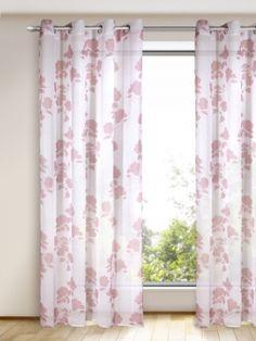 Die Malvefarbenen Weinranken verbreiten eine feminine Note im Raum, während das Gewebe, das dünnen Leinestoffen ähnelt. Gardinen-Outlet.com