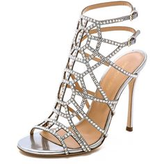 Sergio Rossi Crystal Puzzle Heels (£1,100) ❤ liked on Polyvore featuring shoes, sandals, heels, sapatos, high heels, silver, ankle strap stilettos, ankle wrap sandals, strappy stiletto sandals and ankle strap shoes