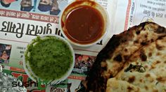 soft spinach naan with chutney