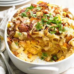 All the fixings of incredible mac and cheese-pasta, crispy bacon, caramelized onions, and a creamy-sharp cheese sauce-mingle perfectly with butternut squash.