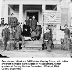 You are looking at a beautiful picture of Stevensburg, Virginia General Judson Kilpatrick, Division, Cavalry Corps, with ladies and staff members on the porch of headquarters. It was created in American Civil War, American History, Old Pictures, Old Photos, Fort Sumter, Confederate States Of America, War Image, Civil War Photos, Before Us