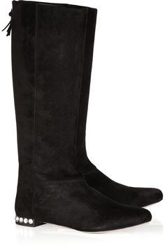MIU MIU  Swarovski crystal-heel suede boots