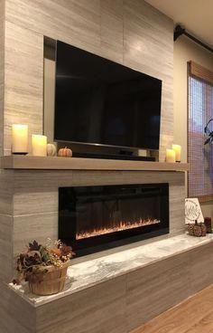 inspiring modern living room, low fireplace, design idea - Home Design - Opzet Modern Fireplace Decor, Living Room Decor Fireplace, Fireplace Tv Wall, New Living Room, Living Room Modern, Living Room Designs, Fireplace Ideas, Modern Fireplaces, Modern Decor