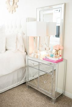 Love the gorgeous mirror nightstand. So glamorous! @istandarddesign