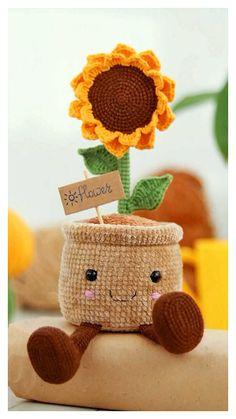 Diy Crochet Toys, Crochet Crafts, Crochet Projects, Free Crochet, Crochet Leaf Patterns, Animal Knitting Patterns, Crochet Patterns Amigurumi, Knitted Flowers, Crochet Cactus