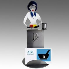 Whimsical Female Pharmacist Metal Business Card Holder