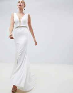 9bccd849345 Jovani Rhinestone Waisted Maxi  asos  ad Asos Wedding Dress