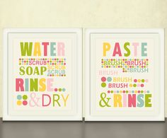Kids Bathroom Art Prints Wash Your Hands by pitterpatterpress, $48.00