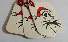 Jack Skellington Christmas Gift tags,Nightmare before Christmas, Disney gift tag Christmas Present Tags, Holiday Gift Tags, Christmas Tag, Christmas Projects, Holiday Treats, Holiday Fun, Christmas Ideas, Halloween Christmas, Disney Christmas