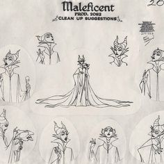 "Model sheets of Maleficent and Princess Aurora. | A Wonderful Look At The Behind-The-Scenes Art Of ""Sleeping Beauty"""