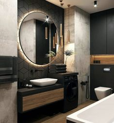 Backlit LEDs give you that extra bit of light that you need to be precise without being uncomfortable to the eyes. Bathroom Design Luxury, Modern Bathroom Design, Home Room Design, Dream Home Design, Loft Design, Interior Design Career, Bathroom Design Inspiration, Design Ideas, Beautiful Bathrooms