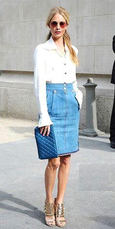 109c90501 Medo de usar saia jeans? Gloria Kalil indica os melhores jeitos para  combinar a peça