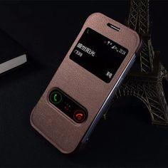 고급 pu 가죽 case 대한 samsung galaxy core prime g360 G360H G3606 더블 윈도우 전화 커버 쉘 골드 블랙 브라운