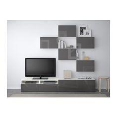 BESTÅ TV storage combination - white/Selsviken high-gloss/gray, drawer runner, soft-closing - IKEA