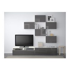 BESTÅ TV storage combination - white/Selsviken high-gloss/gray, drawer runner, push-open - IKEA