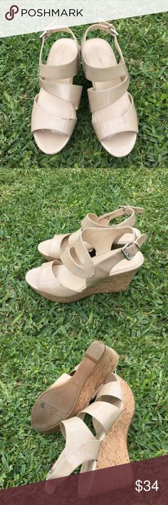 Nine West wedge sandals gorgeous patent tan wedges.  TTS.  4 in wedge Nine West Shoes Sandals