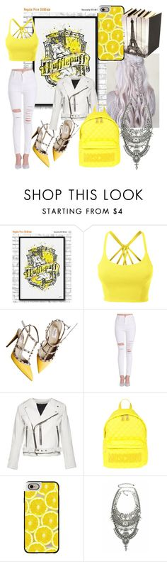"""""""New Hot Girl At Hufflepuff!"""" by isabeldizova ❤ liked on Polyvore featuring LE3NO, Valentino, Marc Jacobs, Moschino, Casetify, harrypotter, white, yellow and Hufflepuff"""