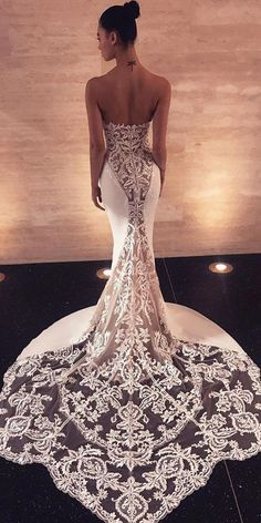 destination wedding dresses mermaid lace low back with train enzoani #mermaidweddingdress