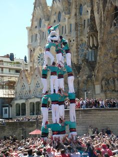 The arrangement of castellers can be into a multi-tiered structure and the highest has a height spanning of nine or ten people from ground up