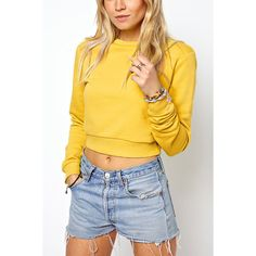 Yoins Casual Plain Yellow Color Crop Sweatshirt ($18) ❤ liked on Polyvore featuring tops, hoodies, sweatshirts, yellow, cropped tops, yellow crop top, cropped sweatshirt, short crop tops and yellow top